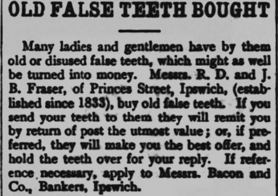 1900-01 Gnashers for cash