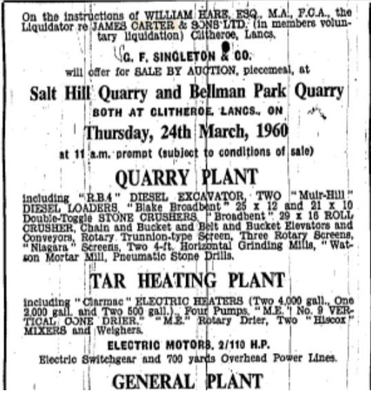 Liquidation - Carter's Bellman and Salthill Quarries.5-2-1960   A