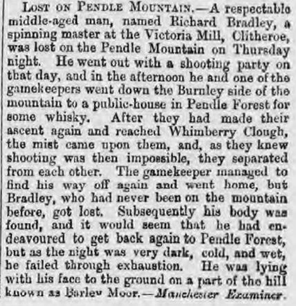 1872-10-15 Lost on Pendle - Glasgow Herald