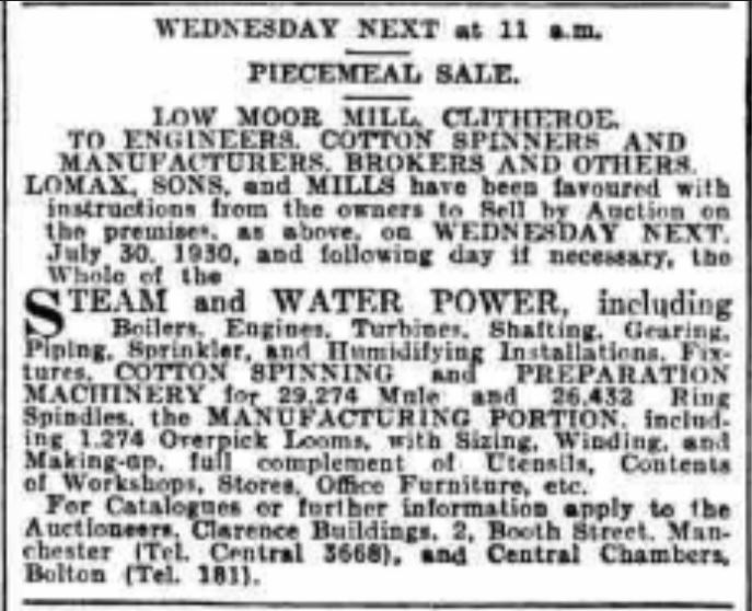 1930-07-26 Low Moor Mill for sale Yorkshire Post