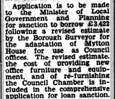 1951-05-25 Mytton House to be Council Offices