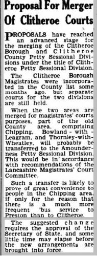 1952-11-14 merger of Clitheroe Courts