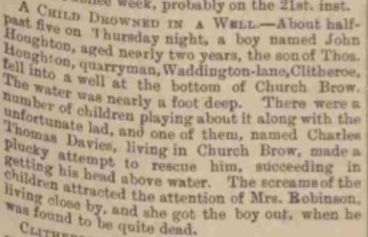 Child drowns in well .     Burnley Express & Clitheroe Division Advertiser