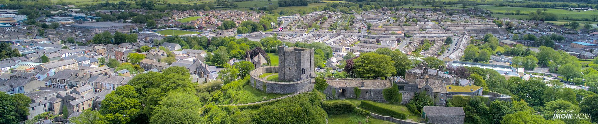 View from the north towards the castle keep. Photo by kind permission of Drone Media.