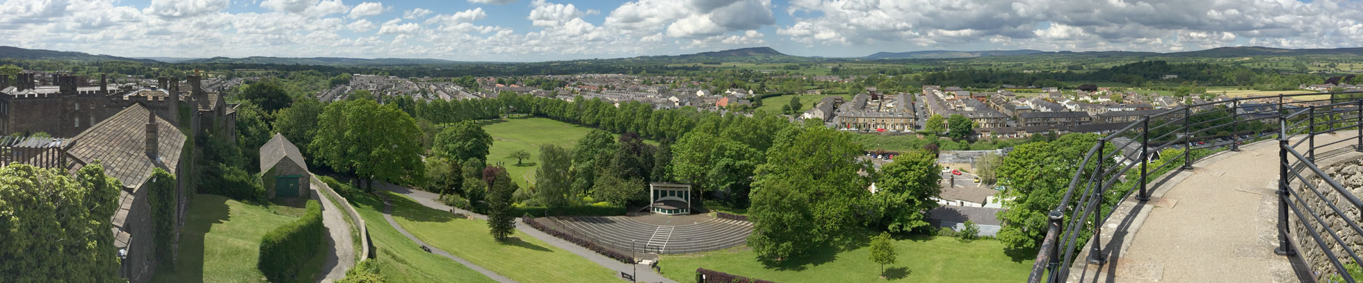 Looking towards Kemple End from the castle keep with the bandstand below.
